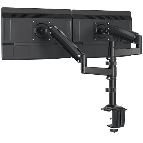 ErGear Doppel Monitor Halterung für 13-32 Zoll /12KG Ultraweitbildschirm mit Innovativer Gasfeder-Ausgleichstechnologie Neigung +85°/-30° Schwenkung 180° Drehung 360° VESA 75/100mm