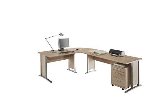 Stella Trading Schreibtisch Winkelkombination, Eckschreibtisch mit Rollcontainer, Eiche Sonoma Nachbildung, Office Line