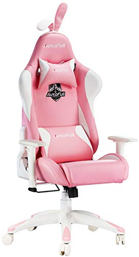 AutoFull Pink Gaming Stuhl Bürostuh Chefsessel PU-Leder Ergonomische Computer Stühle mit Süßen Hasenohren und Schwanz, rosa (DREI Jahre Garantie)