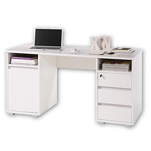 PRIMUS 2 Schreibtisch mit Schubladen, Weiß - Bürotisch Computertisch...
