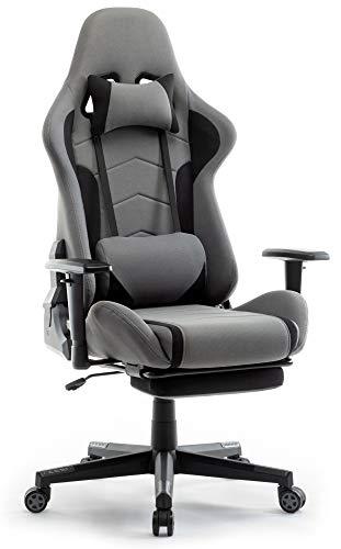 IntimaTe WM Heart Gaming Stuhl, Racing Gamer Stuhl Bürostuhl Stoff, Ergonomischer Computerstuhl mit Fußstütze, Drehstuhl mit Hoher Rückenlehne