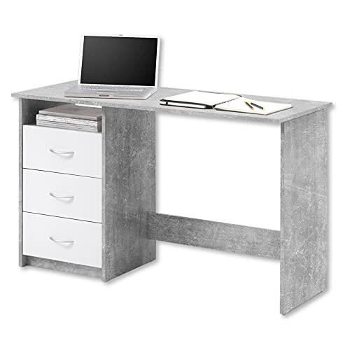 ADRIA Schreibtisch mit Schubladen in Beton Optik, Weiß - Praktischer...