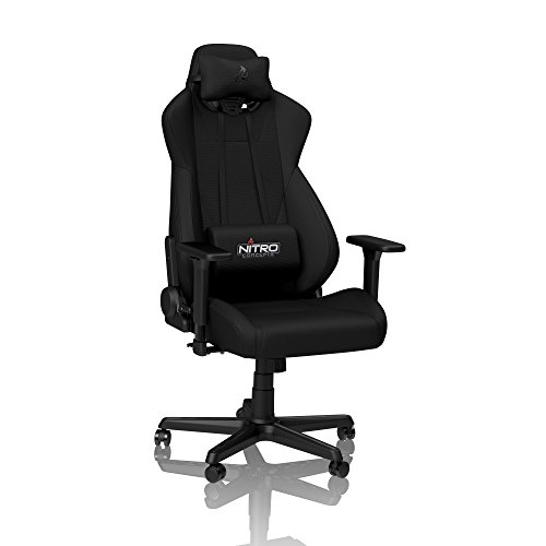 NITRO CONCEPTS S300 Gamingstuhl - Ergonomischer Bürostuhl Schreibtischstuhl Chefsessel Bürostuhl Pc Stuhl Gaming Sessel Stoffbezug Belastbarkeit 135 Kilogramm - Stealth Black (Schwarz)