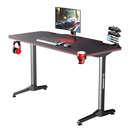 Ultradesk Frag Rot - Computertisch, Schreibtisch, Gaming Tisch mit Mauspad und Zubehör, L: 140cm T: 66cm H: 76cm