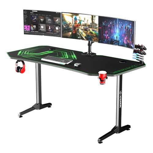 Ultradesk FRAG XXL GRÜN – Sehr großer Computertisch, L: 160cm T: 75cm H: 75cm, Gaming Tisch mit Langer Platte, Schreibtisch für Gamer