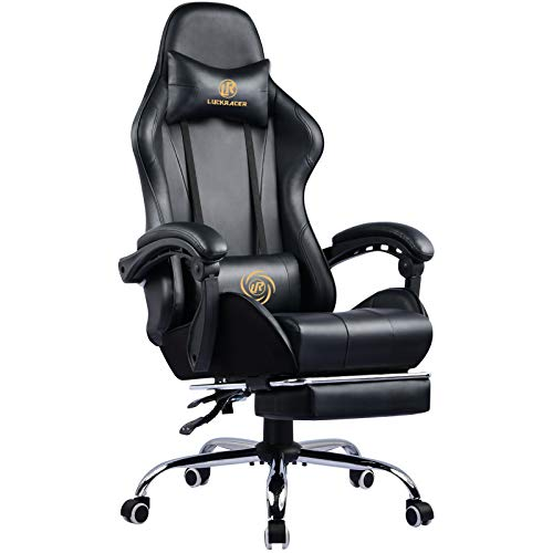 LUCKRACER Gaming Stuhl Massage mit Fußstütze Bürostuhl Massage Lendenkissen Drehstuhl Racing Armlehne PU Leder hohe Rückenlehne (schwarz)