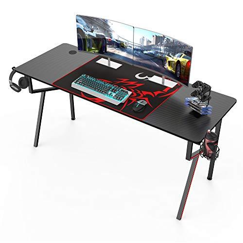 Eureka Gaming Schreibtisch 160 * 60 cm Gaming Tisch Gaming Computertisch PC Schreibtisch mit Getränkehalter und Kopfhörerhalter 160 * 60 cm Schwarz