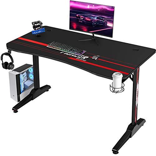 Devoko Gaiming Tisch 110 cm Gaming Schreibtisch Gamer Computertisch Ergonomischer PC Schreibtisch mit Getränkehalter und Kopfhörerhalter T-förmiger, Schwarz