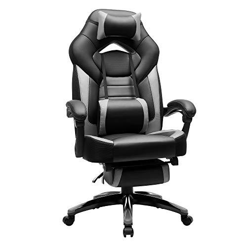 SONGMICS Gamingstuhl, Bürostuhl mit Fußstütze, Schreibtischstuhl, ergonomisches Design, verstellbare Kopfstütze, Lendenstütze, bis zu 150 kg belastbar, schwarz-grau OBG77BG