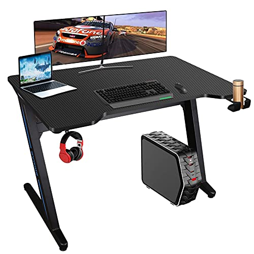 Gaming Tisch mit LED-Licht 6 Farben Gamer Schreibtisch 100 * 60cm PC Computertisch Ergonomisch Carbon Tischplatte Kopfhörerhaken Getränkehalter Rutschfester Fußschutz (Black)