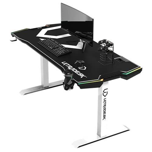 Ultradesk Force – Weiß - sehr großer Computertisch für Gaming, Schreibtisch mit LED RGB, XXL Mauspad und Zubehör, L: 166cm T: 70cm H: 76,5cm