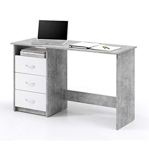 Stella Trading Schreibtisch Jugendzimmer Computertisch Bürotisch Weiß- Betonoptik, BxHxT 120 x 76 x 50 cm