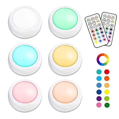 RGB Schrankleuchten LED mit Fernbedienung, Eterbiz Schranklichter Kabinett Beleuchtung Unterbauleuchte, Dimmbar 13 Farben 4 Modi Batteriebetrieben für Schlafzimmer, Kleiderschrank, und Kabinett
