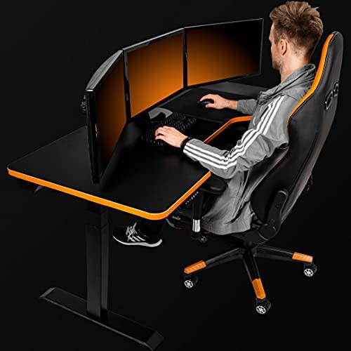 LeetDesk Gaming Tisch - Elektrisch Höhenverstellbarer Schreibtisch Schwarz - Ergonomisch - Minimalistisch