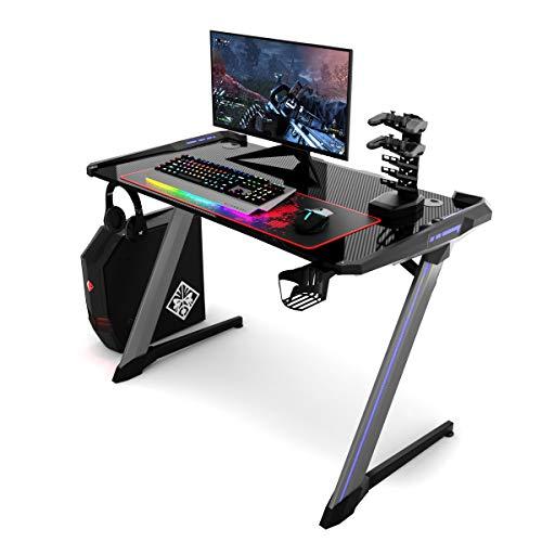 COSTWAY Gaming Tisch mit RGB-Led, Computertisch ergonomisch,...