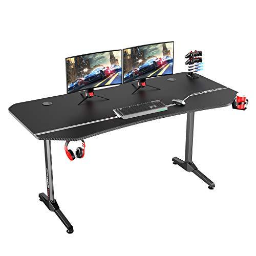 DlandHome Ergonomischer Gaming Tisch Pro PC-Schreibtisch 160 cm Computertisch Gamer mit Große Mauspad Professionelle Spielstation mit USB Spielegriff Rack, Getränkehalter & Kopfhörerhaken, Schwarz