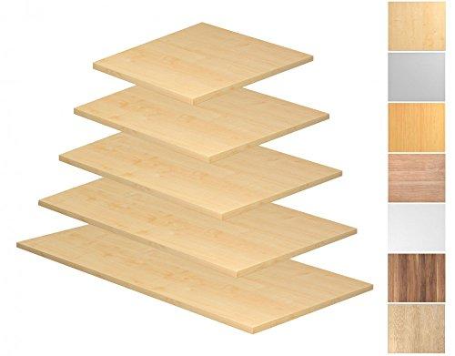 Tischplatte Rechteckform, Tiefe 800/1000 mm, Breite 800/1200/1600/1800/2000 mm, mit Systembohrung, Tischplatte - Dekor:Buche;Größe:1800 x 800 mm