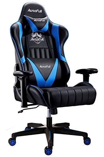 AutoFull Gaming Stuhl Schreibtischstuhl Gamer Ergonomischer Bürostuhl mit hoher Rückenlehne und Lendenwirbelstütze,PU-Leder,Einstellbare Sitzhöhe und Rückenlehnenneigung,Blau (DREI Jahre Garantie)