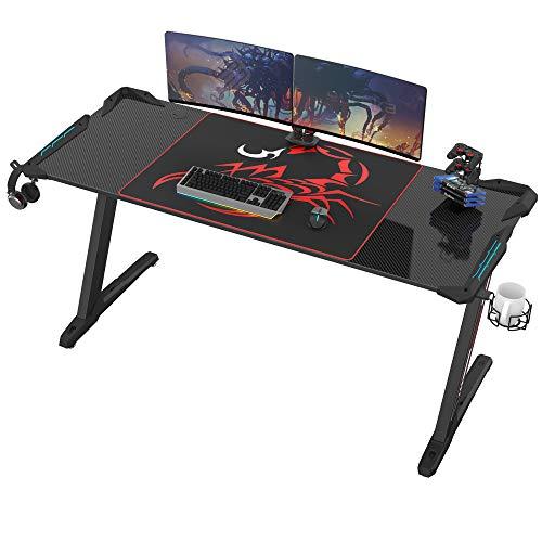EUREKA ERGONOMIC Gaming Tisch Groß Z60 Gamer Tisch mit LED RGB Beleuchtung Gaming Schreibtisch Gaming Computertisch PC Schreibtisch Gamer 153 * 68.5 cm Schwarz