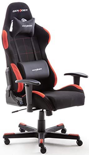 Robas Lund OH/FD01/NR DX Racer 1 Gaming-/ Büro-/ Schreibtischstuhl, mit Wippfunktion Gaming Stuhl Höhenverstellbarer Drehstuhl PC Stuhl Ergonomischer Chefsessel, schwarz-rot