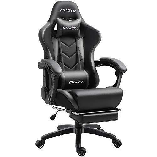 Dowinx Gaming Stuhl Ergonomischer Büro Lehnstuhl für PC mit Massage Lordosenstütze, Racing Stil Sessel PU-Leder-E-Sport-Gamer Stühle mit Ausziehbarem Fußraste (schwarz&grau)
