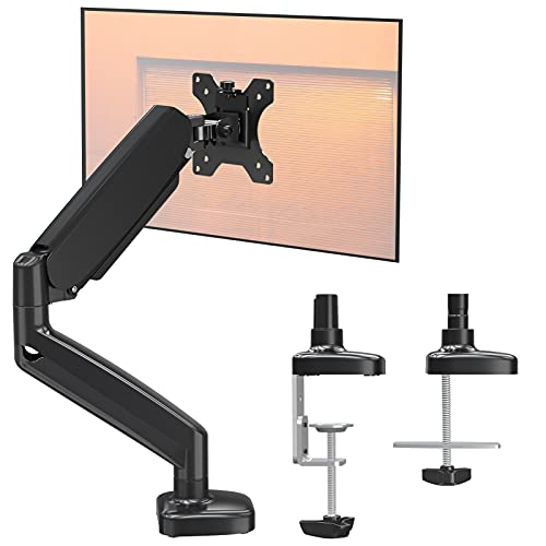 ELIVED 1 Monitor Halterung für 13-32' Bildschirme bis zu 8kg mit VESA 75/100mm, Gasdruckfeder PC Monitor Tischhatlerung, 135° Neigbar, 180° Schwenkbar, 360° Drehbar, Höhenverstellbar Monitorhalterung