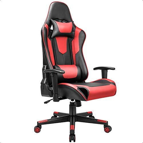 BASETBL Gaming Stuhl PC Gamer Racing Stuhl Gaming Sessel mit verstellbare Armlehne Kopfstütze und Lendenkissen Ergonomischer Gaming Chair mit Wippfunktion sportsitz bis 150 kg belastbar schwarz-Rot