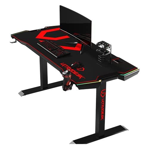 Ultradesk Force – Schwarz-Rot - sehr großer Computertisch für Gaming, Schreibtisch mit LED RGB, XXL Mauspad und Zubehör, L: 166cm T: 70cm H: 76,5cm