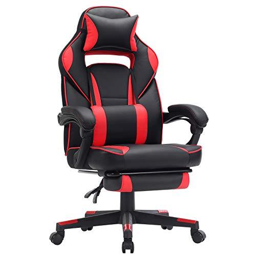 SONGMICS Gamingstuhl, Schreibtischstuhl mit Fußstütze, Bürostuhl mit Kopfstütze und Lendenkissen, höhenverstellbar, ergonomisch, 90-135° Neigungswinkel, bis 150 kg belastbar, schwarz-rot OBG73BRV1