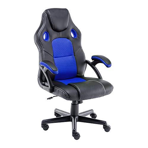 Play haha.Gaming Stuhl Büro Stuhl Drehstuhl Computer Stuhl Ergonomie Konferenz Stuhl Arbeits Stuhl Lordosenstütze PU-Leder Verstellbarer Arbeitsstuhl Gaslift ist SGS-geprüft(Blau)