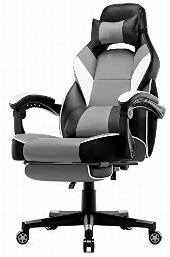 IntimaTe WM Heart Racing Stuhl mit Hoher Rückenlehne, Ergonomischer Gaming Stuhl, Bürostuhl aus Kunstleder (Gray)