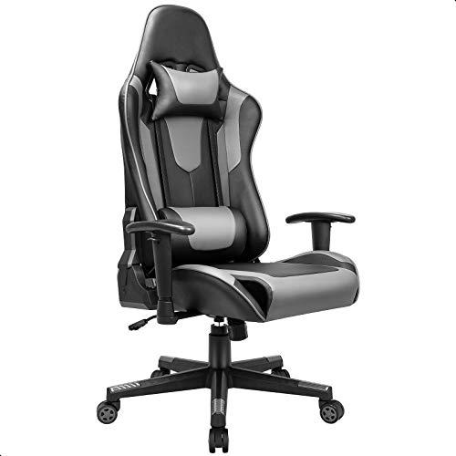 BASETBL Gaming Stuhl PC Gamer Racing Stuhl, 90°-165° Abschließbare Liegefunktion, Verstellbare Armlehne Sitzhöhe Kopfstütze und Lendenkissen, Ergonomischer PU-Leder Gaming Sessel, 150kg Schwarz Grau