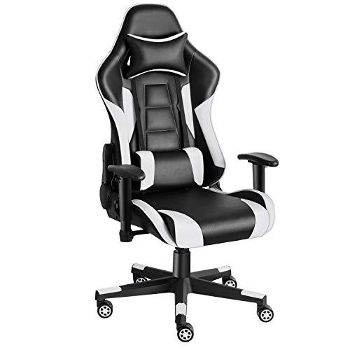 Twomaples Gaming-Stuhl Racing Büro Computer Gaming-Stuhl Ergonomische Rückenlehne und Sitzhöhenverstellung Lehnstuhl Drehwippe mit Kopfstütze und Lendenkissen E-Sportstuhl (Schwarz/Weiß)