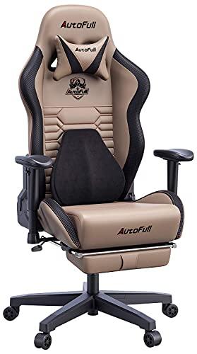 AutoFull Gaming Stuhl Bürostuhl Gamer Ergonomischer Schreibtischstuhl PC-Stuhl mit hoher Rückenlehne und Lendenwirbelstütze,Einstellbare Sitzhöhe und Rückenlehnenneigung, Fußstütze,Braun