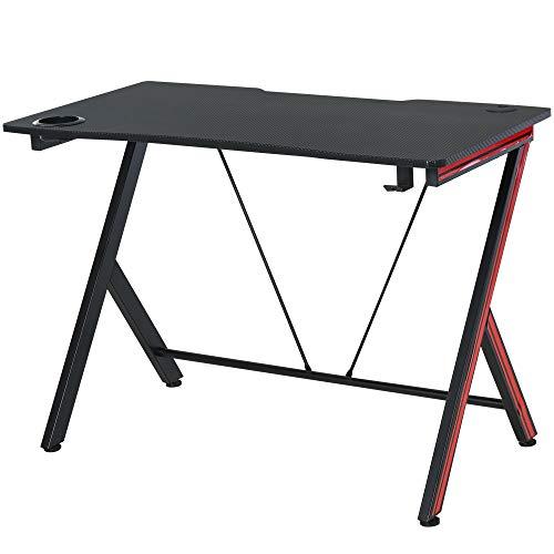 HOMCOM Gaming-Tisch Schreibtisch mit Kopfhörerhaken Getränkehalterung Computertisch Stahl + MDF Schwarz 105 x 55 x 75 cm
