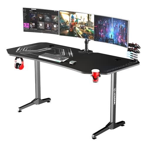 Ultradesk FRAG XXL SCHWARZ – Sehr großer Computertisch, L: 160cm T: 75cm H: 75cm, Gaming Tisch mit Langer Platte, Schreibtisch für Gamer