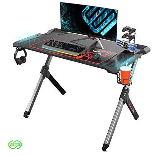 EUREKA ERGONOMIC Gaming Tisch mit LED R1-S Gaming Schreibtisch mit RGB Beleuchtung PC Tisch Gaming Gamer Tisch mit Getränkehalter und Kopfhörerhalter 110 * 67.5CM Schwarz