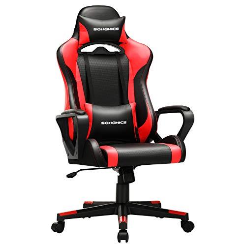 SONGMICS Gaming Stuhl, Schreibtischstuhl, Computerstuhl, Bürostuhl, abnehmbare Kopfstütze, Lendenkissen, höhenverstellbar, Wippfunktion, bis 150 kg belastbar, ergonomisch, schwarz-rot RCG011B01