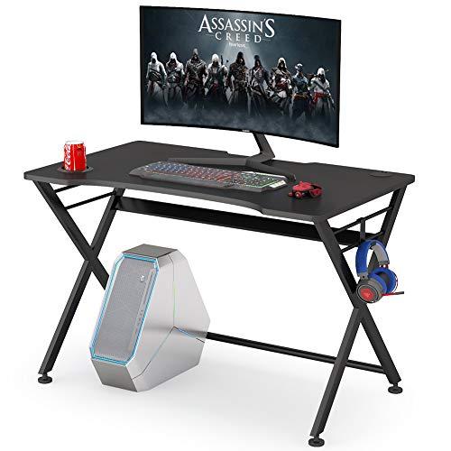Tribesigns Gaming-Schreibtisch mit Getränkehalter und Kopfhörerhaken, ergonomischer X-förmiger Gaming-Tisch für Büro und Zuhause