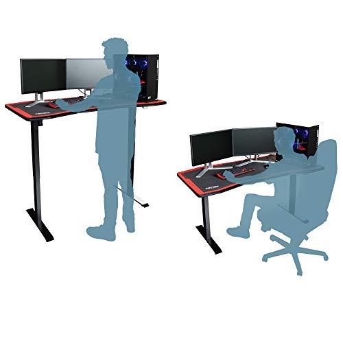 NITRO CONCEPTS D16E Gaming Tisch - Schreibtisch Computertisch 1600x800mm elektrisch höhenverstellbar Carbon Black (Schwarz)