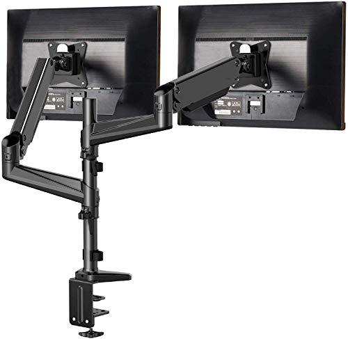 HUANUO 13'-32' Zoll Monitor Halterung 2 Monitore Höhenverstellbar, Gasdruckfeder Arm 360° Drehbar für LED LCD Bildschirme, 2 Montageoptionen, VESA 75/100