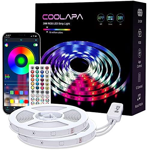 LED Strip 20M, COOLAPA Led Streifen RGB 5050, LED Stripes mit 40...