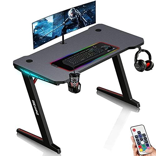 ESGAMING Gaming Tisch mit LED, Z-Förmig Gaming Schreibtisch 120cm Groß Gamer Tisch Computertisch mit Getränkehalter Kopfhörerhalter und Smooth Carbon Fiber Texture Desktop