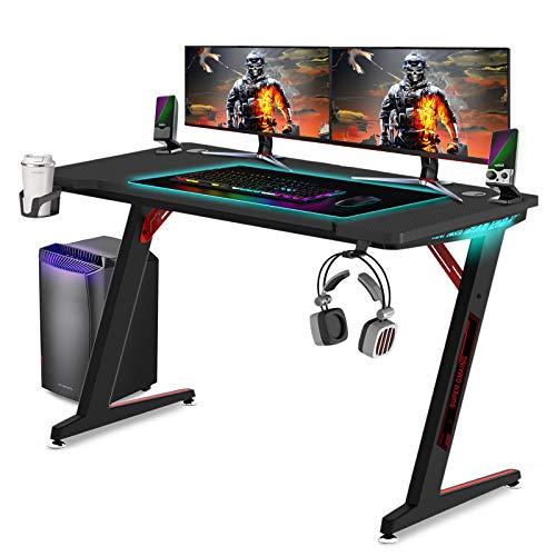 Huracan LED Gaming Tisch Ergonomisch Schreibtisch Groß Computertisch...