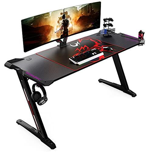 EUREKA ERGONOMIC Gaming Tisch Groß Z60 Gamer Tisch mit LED RGB...