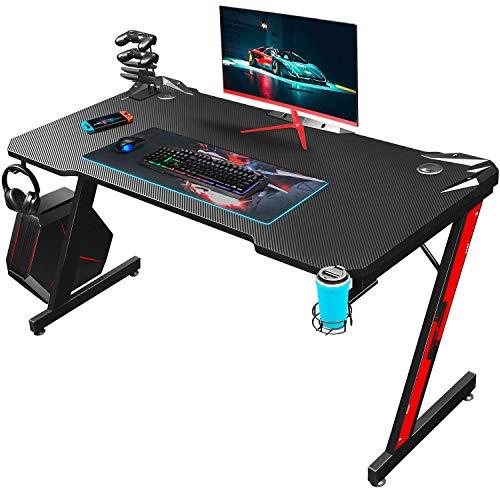 Homall Gaming Tisch Gaming Schreibtisch Gamer Computertisch Ergonomischer PC Tisch 110 cm Z-Frame mit Controller Ständer, Becherhalter, Kopfhörer Haken, Schwarz