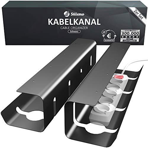 Kabelkanal Schreibtisch für Ordnung am Arbeitsplatz - Kabelmanagement Schreibtisch - Kabelhalter Kabelwanne Tisch 2er Set - Kabelkorb 43 x 12 x 10 cm (Schwarz)