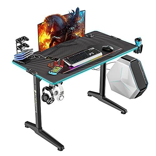 EUREKA ERGONOMIC Gaming Tisch mit LED P44 Gaming Schreibtisch mit RGB...