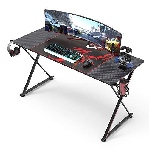 EUREKA ERGONOMIC Gaming Tisch Groß 140cm Gaming Schreibtisch Gaming Computertisch PC Schreibtisch mit Getränkehalter und Kopfhörerhalter 140 * 60 cm Schwarz