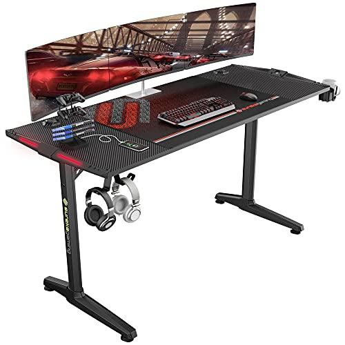 EUREKA ERGONOMIC Gaming Tisch Groß mit P55 Gamer Tisch mit RGB Beleuchtung Gaming Schreibtisch PC Schreibtisch mit Leistungsstarkes Kabelmanagement 148 * 60 cm Schwarz